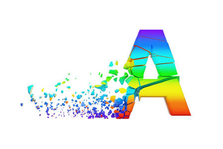 Broken shattered iridescent alphabet letter A uppercase. Crushed rainbow font. 3D render isolated on white background. Typographic symbol from spectrum cracked debris. 스톡 콘텐츠