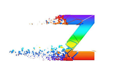 Broken shattered iridescent alphabet letter Z uppercase. Crushed rainbow font. 3D render isolated on white background. Typographic symbol from spectrum cracked debris. Stock Photo