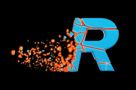 Broken shattered fast sporty alphabet letter R uppercase. Crushed speedy racing font. 3D render isolated on black background. Typographic symbol from glowing neon cracked debris. Stock fotó