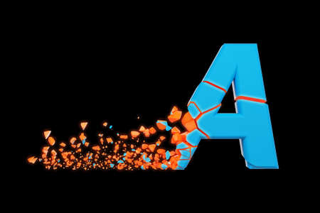Broken shattered fast sporty alphabet letter A uppercase. Crushed speedy racing font. 3D render isolated on black background. Typographic symbol from glowing neon cracked debris.