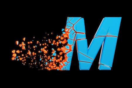 Broken shattered fast sporty alphabet letter M uppercase. Crushed speedy racing font. 3D render isolated on black background. Typographic symbol from glowing neon cracked debris. Stock Photo