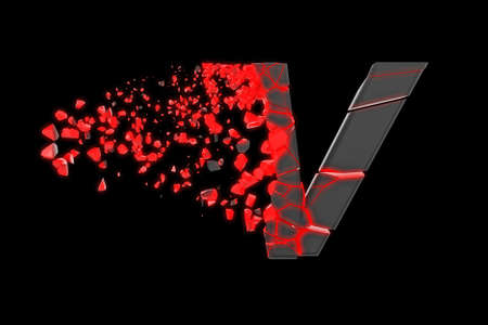 Broken shattered fast sporty alphabet letter V uppercase. Crushed speedy racing font. 3D render isolated on black background. Typographic symbol from glowing neon cracked debris. 스톡 콘텐츠