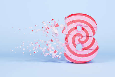 Broken shattered alphabet number 8. Crushed christmas font made of pink and red striped lollipop. 3D render. Tasty confection from delicious lollypop caramel cracked debris.