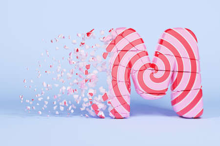 Broken shattered alphabet letter M uppercase. Crushed christmas font made of pink and red striped lollipop. 3D render. Tasty confection from delicious lollypop caramel cracked debris.