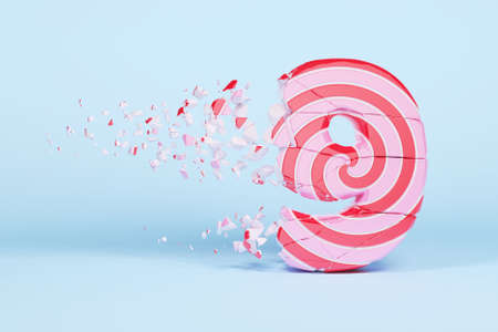 Broken shattered alphabet number 9. Crushed christmas font made of pink and red striped lollipop. 3D render. Tasty confection from delicious lollypop caramel cracked debris.