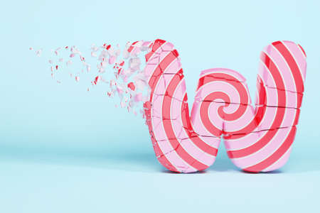 Broken shattered alphabet letter W uppercase. Crushed christmas font made of pink and red striped lollipop. 3D render. Tasty confection from delicious lollypop caramel cracked debris.