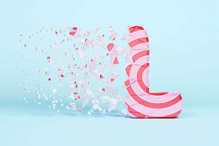 Broken shattered alphabet letter L uppercase. Crushed christmas font made of pink and red striped lollipop. 3D render. Tasty confection from delicious lollypop caramel cracked debris.