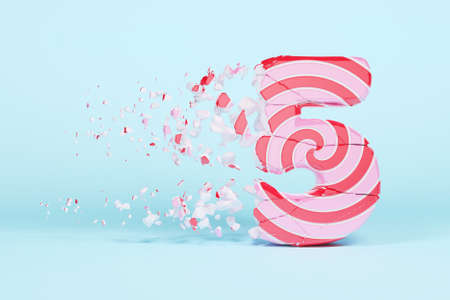 Broken shattered alphabet number 5. Crushed christmas font made of pink and red striped lollipop. 3D render. Tasty confection from delicious lollypop caramel cracked debris.