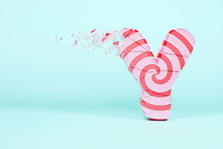 Broken shattered alphabet letter Y uppercase. Crushed christmas font made of pink and red striped lollipop. 3D render. Tasty confection from delicious lollypop caramel cracked debris.