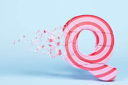 Broken shattered alphabet letter Q uppercase. Crushed christmas font made of pink and red striped lollipop. 3D render. Tasty confection from delicious lollypop caramel cracked debris.