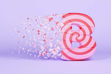 Broken shattered alphabet letter B uppercase. Crushed christmas font made of pink and red striped lollipop. 3D render. Tasty confection from delicious lollypop caramel cracked debris. Imagens