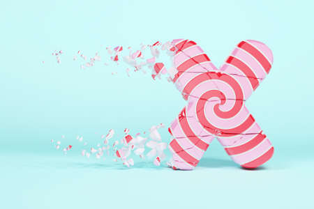 Broken shattered alphabet letter X uppercase. Crushed christmas font made of pink and red striped lollipop. 3D render. Tasty confection from delicious lollypop caramel cracked debris.
