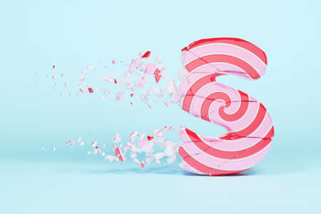 Broken shattered alphabet letter S uppercase. Crushed christmas font made of pink and red striped lollipop. 3D render. Tasty confection from delicious lollypop caramel cracked debris. Stock Photo