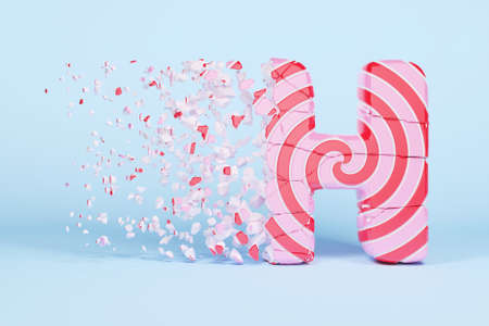Broken shattered alphabet letter H uppercase. Crushed christmas font made of pink and red striped lollipop. 3D render. Tasty confection from delicious lollypop caramel cracked debris.