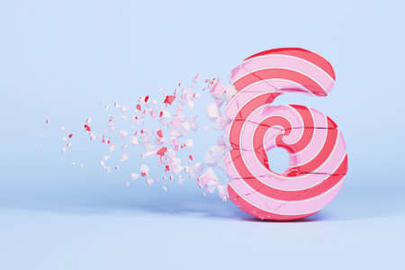 Broken shattered alphabet number 6. Crushed christmas font made of pink and red striped lollipop. 3D render. Tasty confection from delicious lollypop caramel cracked debris.