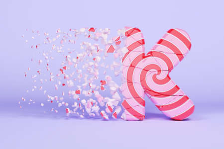 Broken shattered alphabet letter K uppercase. Crushed christmas font made of pink and red striped lollipop. 3D render. Tasty confection from delicious lollypop caramel cracked debris.