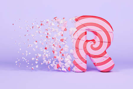 Broken shattered alphabet letter R uppercase. Crushed christmas font made of pink and red striped lollipop. 3D render. Tasty confection from delicious lollypop caramel cracked debris.