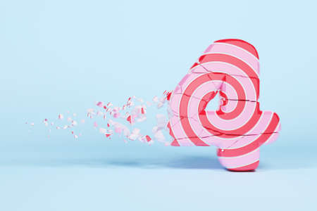 Broken shattered alphabet number 4. Crushed christmas font made of pink and red striped lollipop. 3D render. Tasty confection from delicious lollypop caramel cracked debris. 스톡 콘텐츠