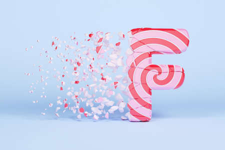 Broken shattered alphabet letter F uppercase. Crushed christmas font made of pink and red striped lollipop. 3D render. Tasty confection from delicious lollypop caramel cracked debris.