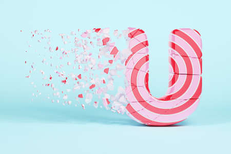 Broken shattered alphabet letter U uppercase. Crushed christmas font made of pink and red striped lollipop. 3D render. Tasty confection from delicious lollypop caramel cracked debris.