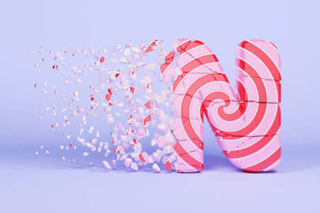 Broken shattered alphabet letter N uppercase. Crushed christmas font made of pink and red striped lollipop. 3D render. Tasty confection from delicious lollypop caramel cracked debris. Stock Photo