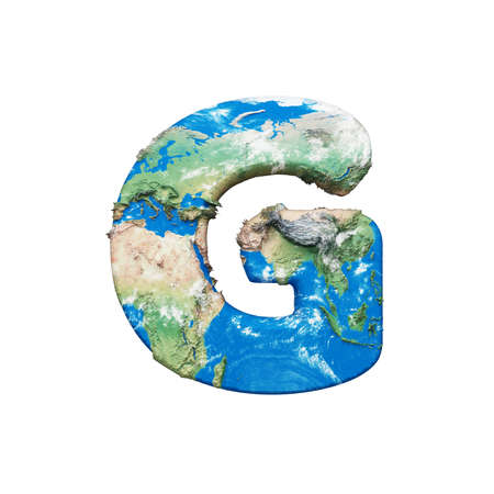 World earth globe alphabet letter G uppercase. Global worldwide font with map. 3D render isolated on white background. Typographic symbol from blue and green planet Earth.