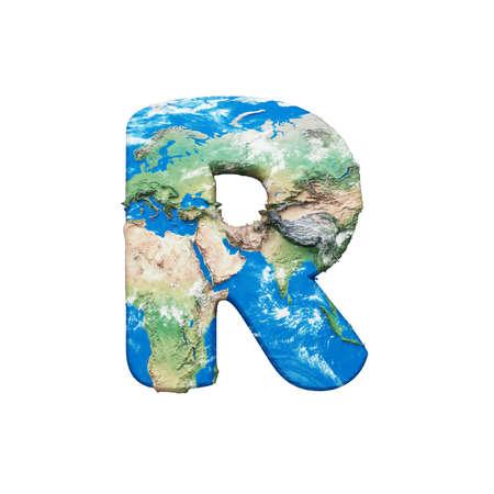Lettre de l'alphabet globe terrestre du monde R majuscule. Police mondiale mondiale avec carte. rendu 3D isolé sur fond blanc. Symbole typographique de la planète Terre bleue et verte.