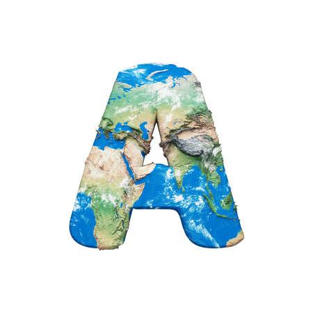 Lettre de l'alphabet globe terrestre du monde A majuscule. Police mondiale mondiale avec carte. rendu 3D isolé sur fond blanc. Symbole typographique de la planète Terre bleue et verte.
