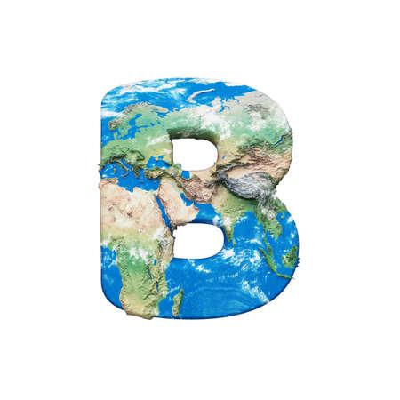 Lettre de l'alphabet globe terrestre du monde B majuscule. Police mondiale mondiale avec carte. rendu 3D isolé sur fond blanc. Symbole typographique de la planète Terre bleue et verte.