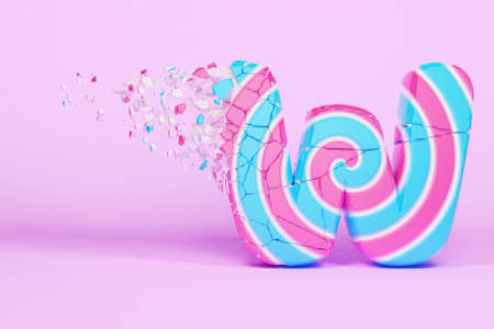 Broken shattered alphabet letter W uppercase. Crushed christmas font made of pink and blue striped lollipop. 3D render. Tasty confection from delicious lollypop caramel cracked debris. 스톡 콘텐츠