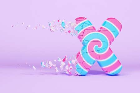 Broken shattered alphabet letter X uppercase. Crushed christmas font made of pink and blue striped lollipop. 3D render. Tasty confection from delicious lollypop caramel cracked debris.
