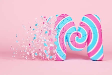 Broken shattered alphabet letter M uppercase. Crushed christmas font made of pink and blue striped lollipop. 3D render. Tasty confection from delicious lollypop caramel cracked debris.