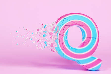 Broken shattered alphabet letter Q uppercase. Crushed christmas font made of pink and blue striped lollipop. 3D render. Tasty confection from delicious lollypop caramel cracked debris. Stock Photo