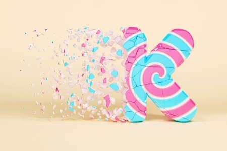 Broken shattered alphabet letter K uppercase. Crushed christmas font made of pink and blue striped lollipop. 3D render. Tasty confection from delicious lollypop caramel cracked debris. Stock Photo