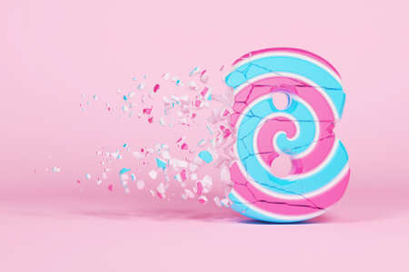 Broken shattered alphabet number 8. Crushed christmas font made of pink and blue striped lollipop. 3D render. Tasty confection from delicious lollypop caramel cracked debris. 스톡 콘텐츠