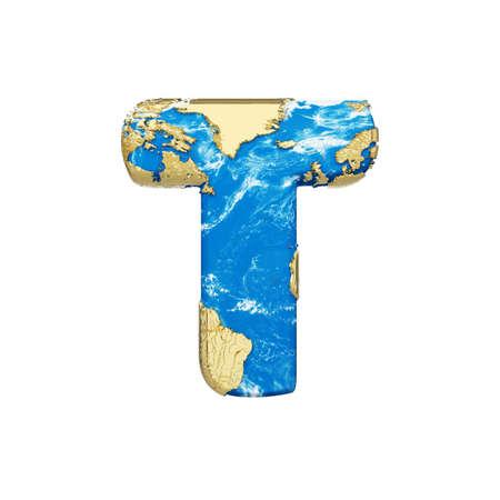 Lettre de l'alphabet globe terrestre du monde T majuscule.