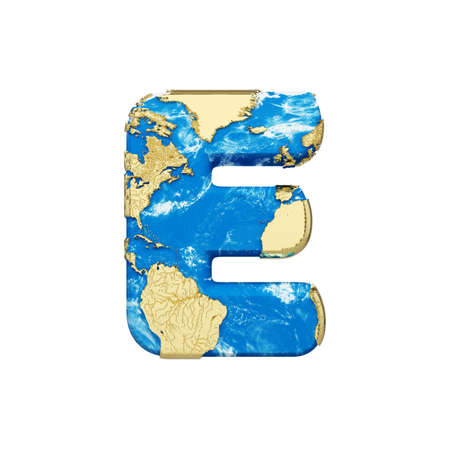 World earth globe alphabet letter E uppercase. Global worldwide font with  map. 3D render isolated on white background. Typographic symbol from blue and gold planet Earth.