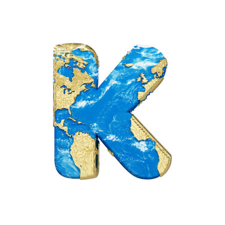 World earth globe alphabet letter K uppercase. Global worldwide font with  map. 3D render isolated on white background. Typographic symbol from blue and gold planet Earth.
