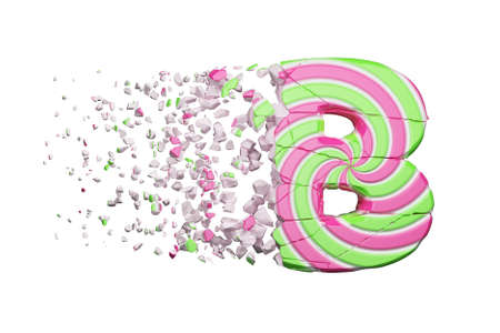 Broken shattered alphabet letter B. Crushed font made of pink and green striped lollipop. 3D render isolated on white background. Tasty confection from delicious lollypop caramel cracked debris.