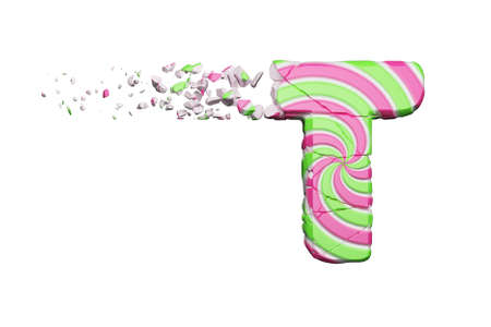 Broken shattered alphabet letter T. Crushed font made of pink and green striped lollipop. 3D render isolated on white background. Tasty confection from delicious lollypop caramel cracked debris.