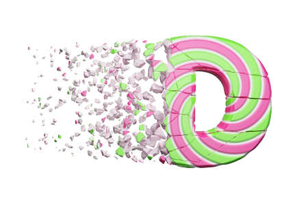 Broken shattered alphabet letter D. Crushed font made of pink and green striped lollipop. 3D render isolated on white background. Tasty confection from delicious lollypop caramel cracked debris.