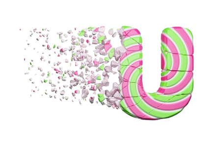 Broken shattered alphabet letter U. Crushed font made of pink and green striped lollipop. 3D render isolated on white background. Tasty confection from delicious lollypop caramel cracked debris.