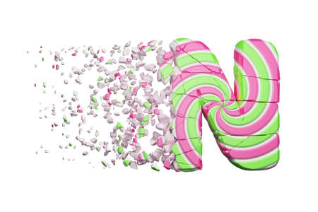 Broken shattered alphabet letter N. Crushed font made of pink and green striped lollipop. 3D render isolated on white background. Tasty confection from delicious lollypop caramel cracked debris.
