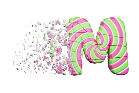 Broken shattered alphabet letter M. Crushed font made of pink and green striped lollipop. 3D render isolated on white background. Tasty confection from delicious lollypop caramel cracked debris.