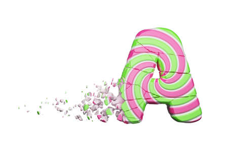 Broken shattered alphabet letter A. Crushed font made of pink and green striped lollipop. 3D render isolated on white background. Tasty confection from delicious lollypop caramel cracked debris.