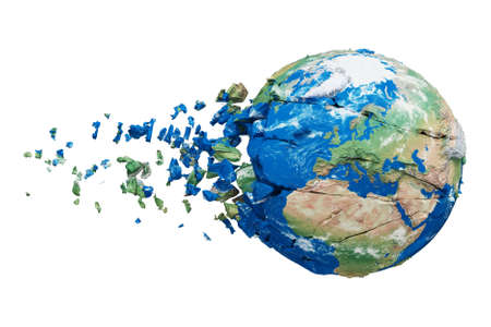 Broken shattered planet earth globe isolated on white background. Blue and green realistic world with particles and debris. Damaged destroyed crashed world globe. 3d render illustration