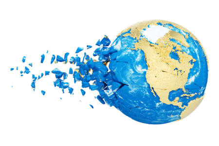 Broken shattered planet earth globe isolated on white background. Gold metallic world with particles and debris. Damaged destroyed crashed world globe. 3d render illustration