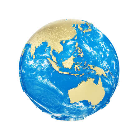 Planet earth globe isolated on white background. Gold metallic continents and blue ocean. Earth day celebration. 3d render illustration Foto de archivo - 112459866