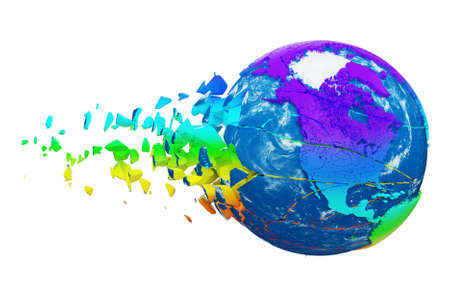 Broken shattered planet earth globe isolated on white background. Rainbow realistic world with particles and debris. Damaged destroyed crashed world globe. 3d render illustration with map .