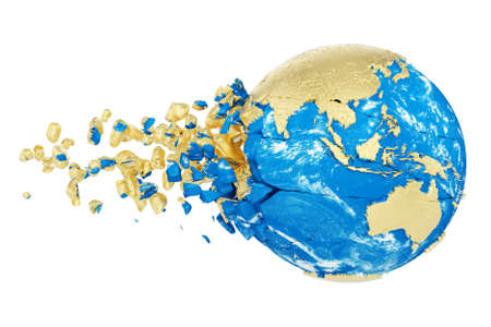 Broken shattered planet earth globe isolated on white background. Gold metallic world with particles and debris. Damaged destroyed crashed world globe. 3d render illustration with map .